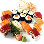 Sushi de salmón y atún rojo